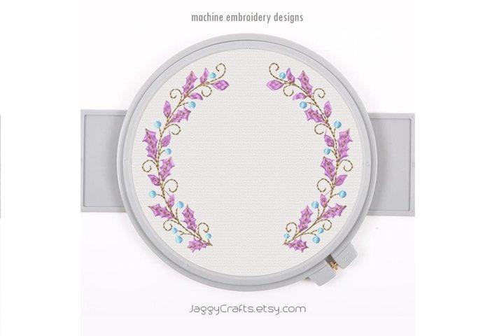 Berry Leaf Floral Wreath monogram font border frame