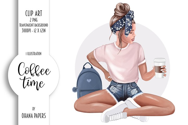 Coffee Fashion Girl Clipart, Planner Graphics Supplies