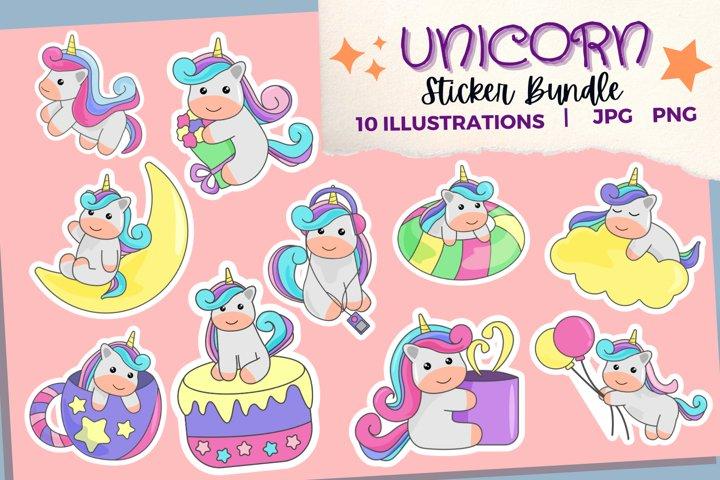 Unicorn Sticker Bundle   Cute Unicorn Stickers