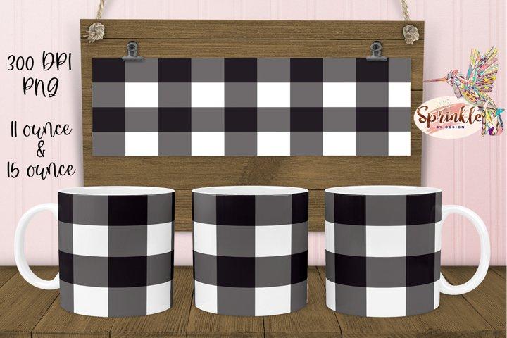 Black Buffalo Plaid Mug Sublimation - Sublimation Mug Design