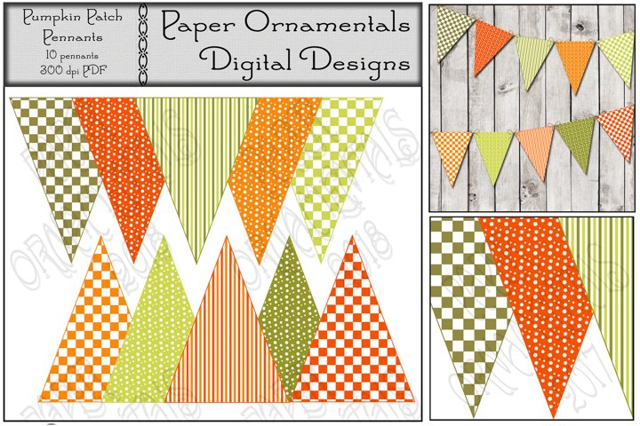 Autumn Pennant Banner, Fall Color Patterns