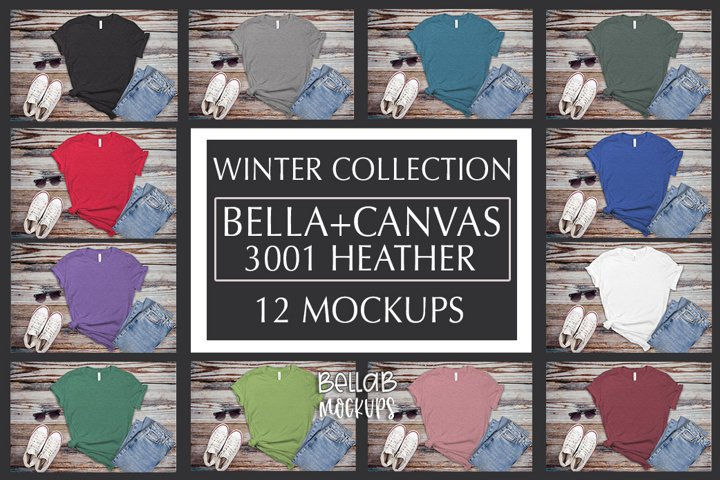 Bella Canvas T Shirt Mockup Bundle, Heather 3001, Winter