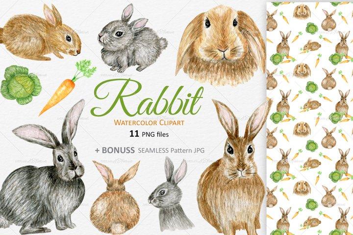 Rabbits Bunny Clipart Watercolor Easter spring nursery set