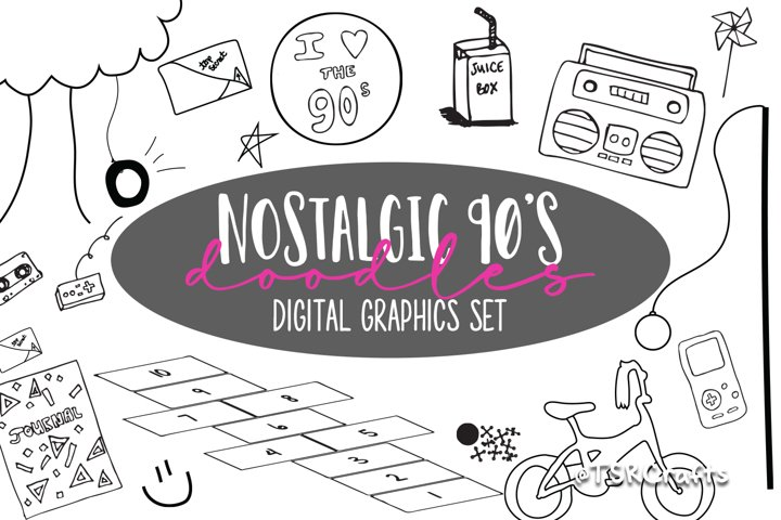 Nostalgic 90s digital graphics bundle