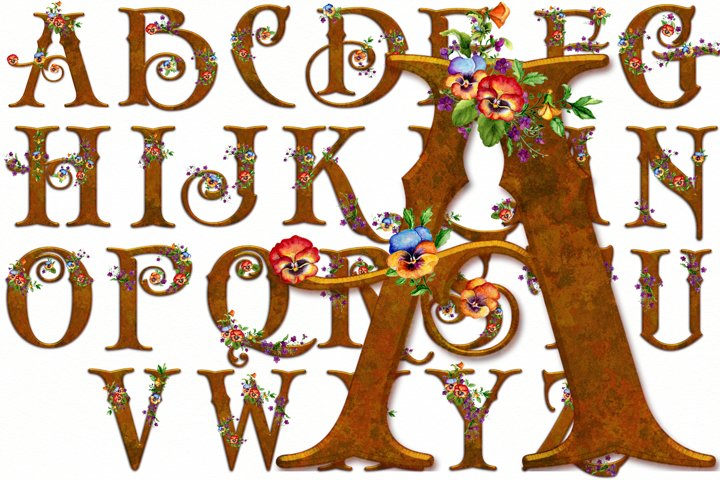 Old English Alphabet and Numbers with Watercolor Pansies