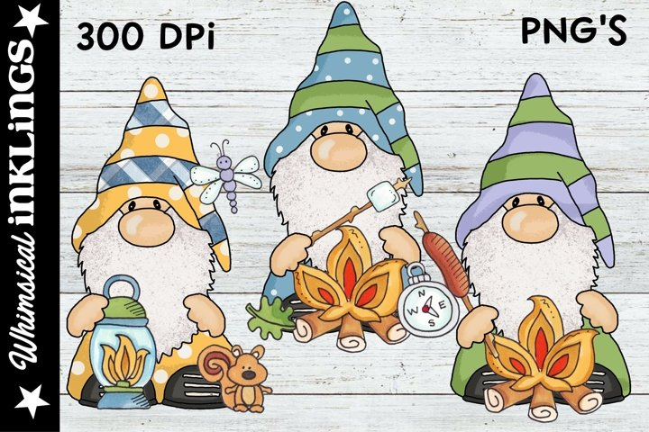 Woodland Camping Gnomes Sublimation Clipart