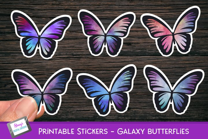 Printable Stickers - Butterfly Stickers - Galaxy Butterflies