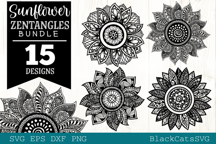 Sunflower Zentangle Bundle SVG