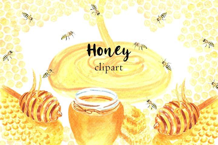 Watercolor Honey Clipart, Honey Bees Clipart, Bees Digital