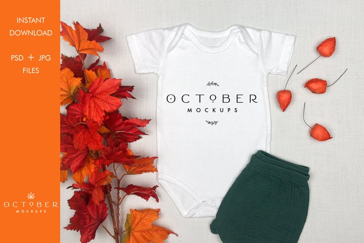 Fall Baby T-shirt Mockup | Autumn Kids mockup in JPG PSD