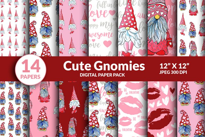 Valentine Gnome Digital Paper Seamless Pattern, Love Hearts