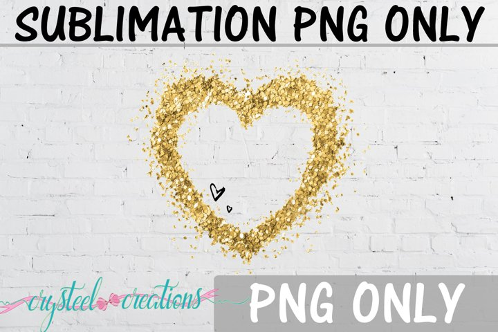 Sublimation Gold Glitter Two Hearts PNG Only