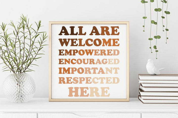 All Are Welcome Here No Racism Printable Poster