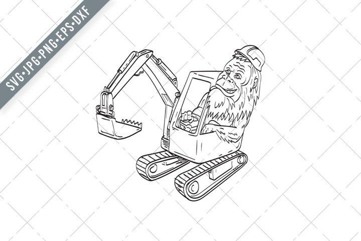 Sasquatch or Bigfoot Hardhat Driving Mechanical Digger