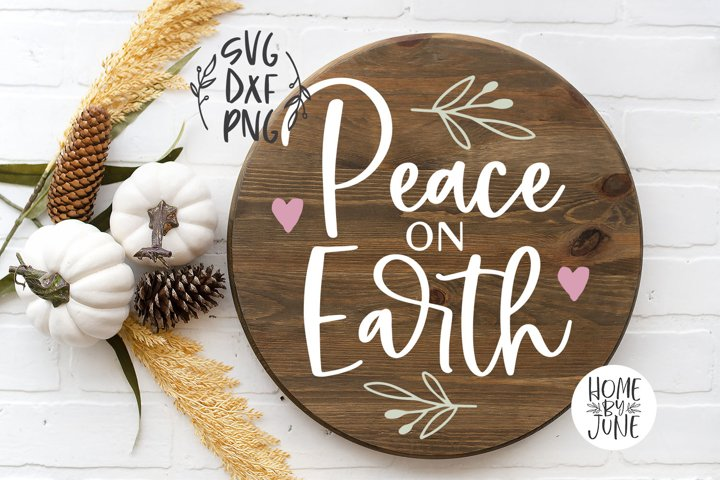 Peace On Earth Round/Circle Christmas Sign Decor