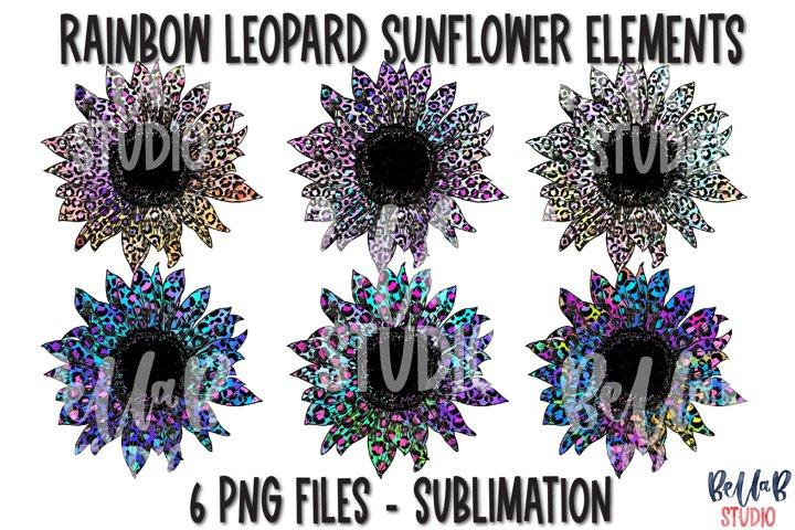 Rainbow Leopard Sunflower Sublimation Elements Bundle
