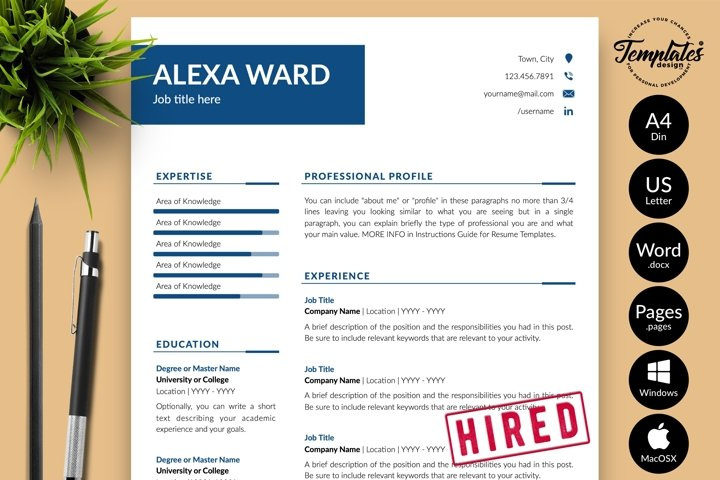 Simple Resume CV Template for Word & Pages Alexa Ward