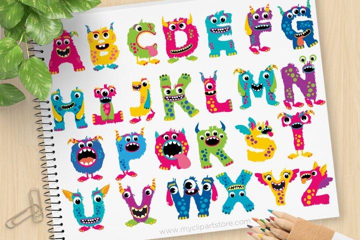 Girl Monsters Alphabet Clipart, ABC Letters - Vector Clipart