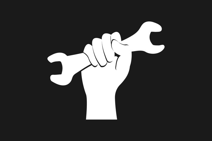 Hand holds wrench icon. White logo on black background EPS10