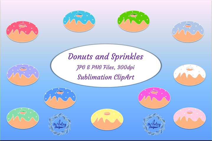 Donuts Sublimation Clipart Retro Style Sweets Dessert
