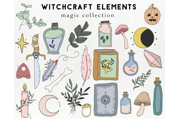 25 witchcraft elements - boho, magic, halloween clipart