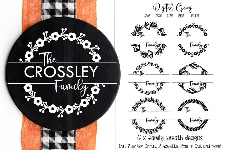 Family monogram wreath designs, SVG / PNG / EPS / DXF Files