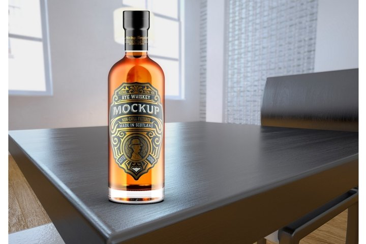Whiskey Bottle Mockup with room scene