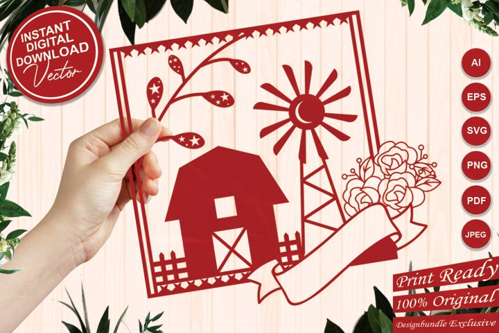 Paper Cut Farm House with Windmill, Flowers and Ribbon Tag