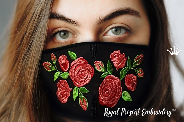 Face Mask Roses4 ITH Machine Embroidery design