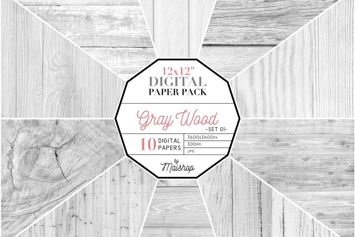 Digital Paper Pack - Gray Wood Set 01