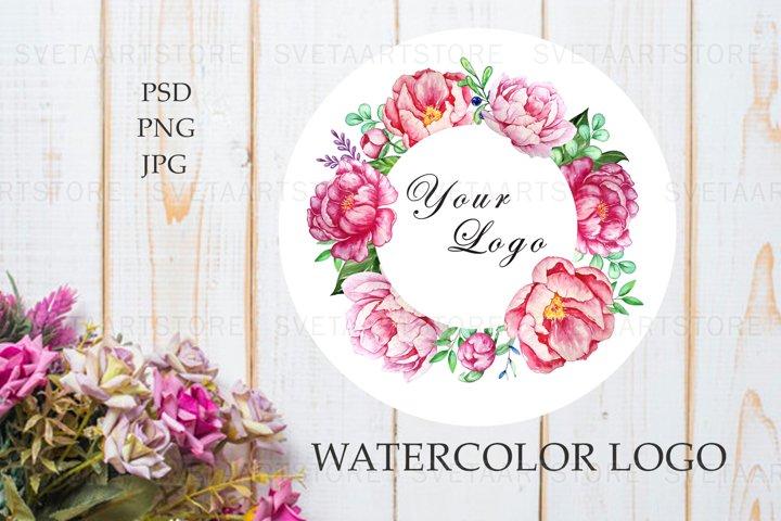 Premade Logo Flowers, Watercolor Peonies Logo