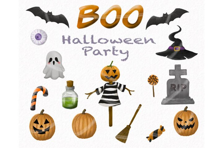 Halloween Party Cute Horror Clipart PNG file