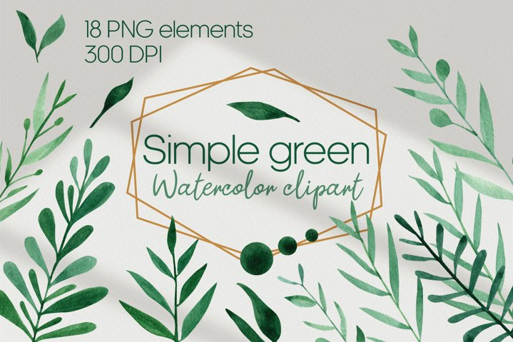 Simple green PNG, watercolor greenery clipart, Forest leaves