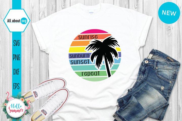 Vintage Sunset Svg, Palm Tree Sunset Svg