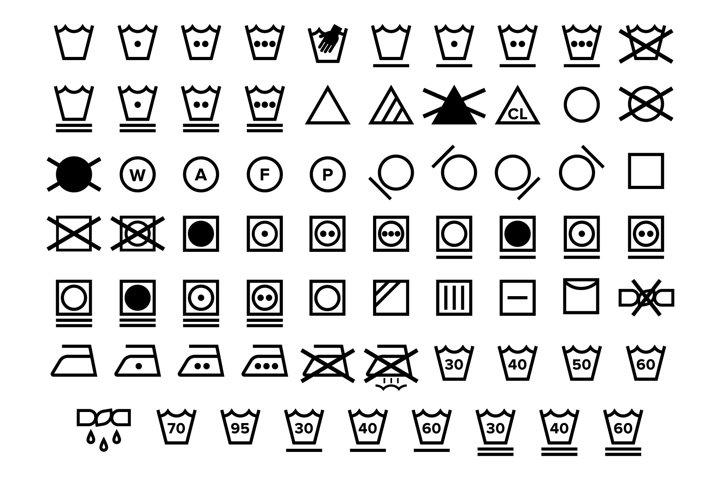 Laundry Care Symbol Icons Set