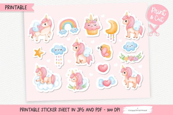 Watercolor Unicorn Printable Stickers, Unicorn Sticker