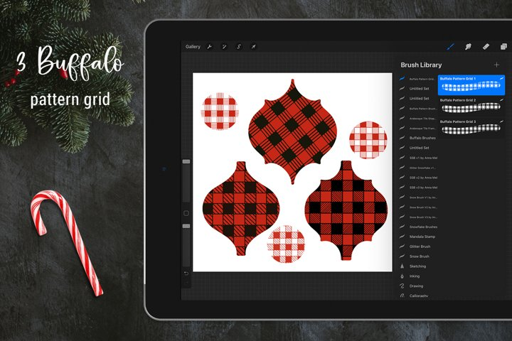 Christmas buffalo plaid grid pattern Procreate brushes