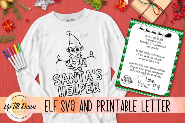 Elf SVG and Printable Letter, Christmas Coloring SVG