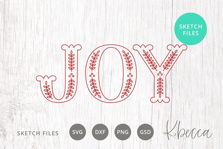 Foil Quill Sketch Joy Caps Christmas SVG