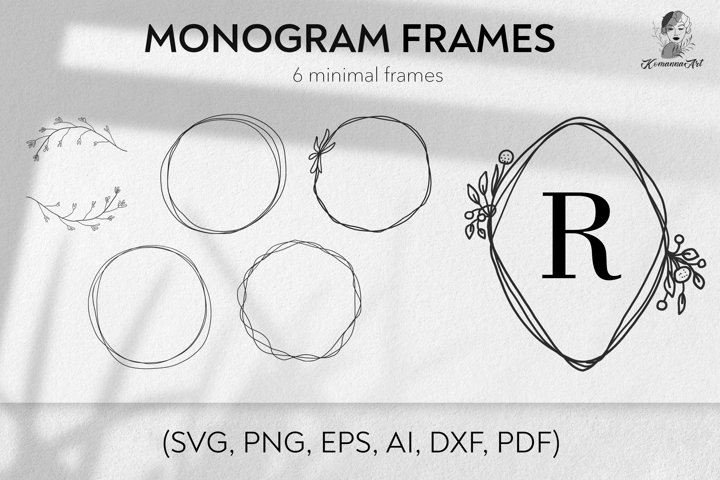 Vector simple wreaths, monogram frames silhouettes, SVG