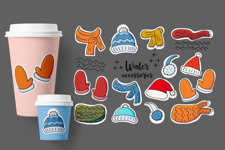 Set of winter accessories. Winter season elements