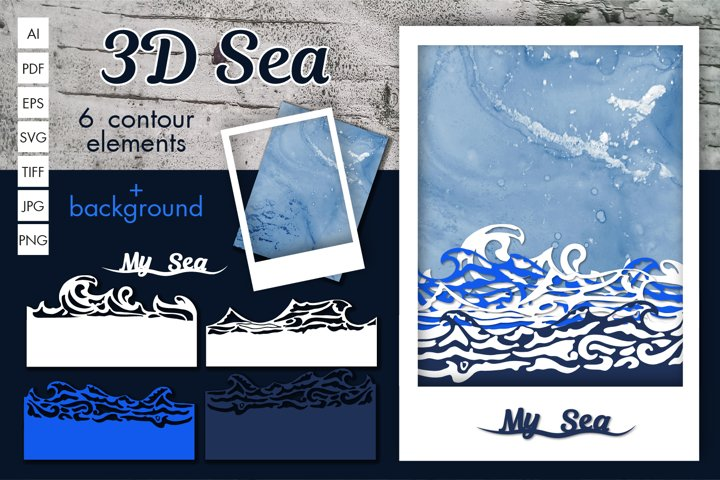 3D Sea Contours for gifts, cards, designs
