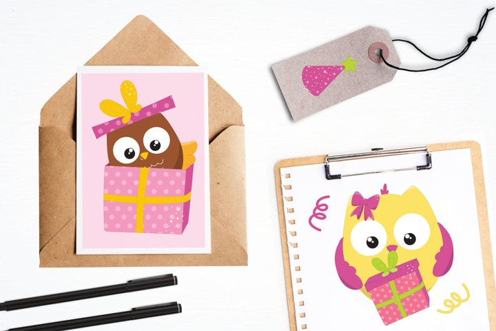 Birthday Owls Girls  graphics and illustrations - Free Design of The Week Design2