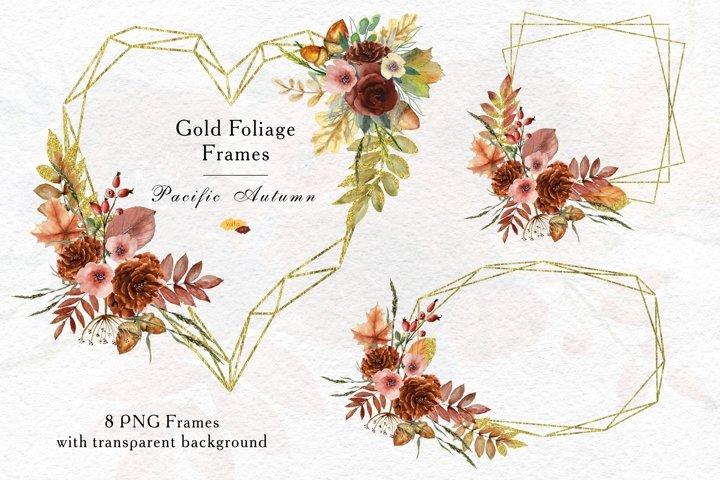 Watercolor Autumn Roses Golden Foliage Geometric Frames