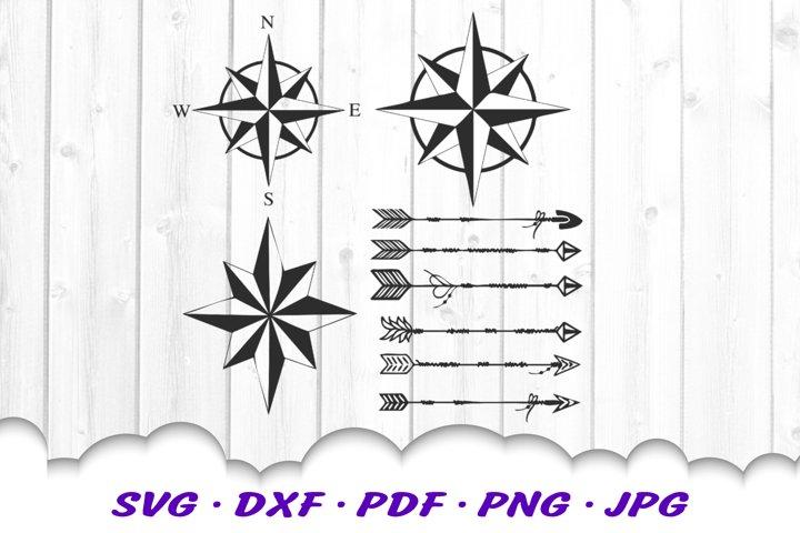 Arrow Compass Adventure SVG DXF Cut Files Bundle