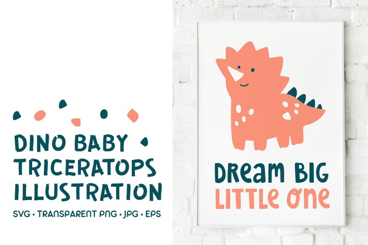Baby Triceratops Dinosaur With Lettering. SVG Illustration