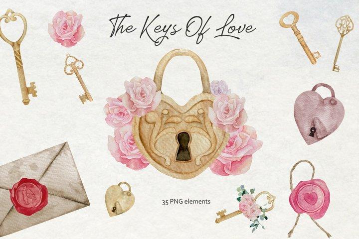 Watercolor Vintage Keys and Locks