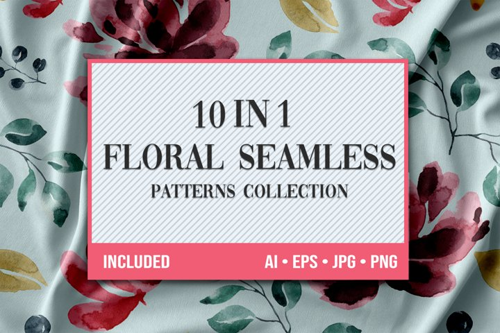 10 Floral Seamless Patterns Collection