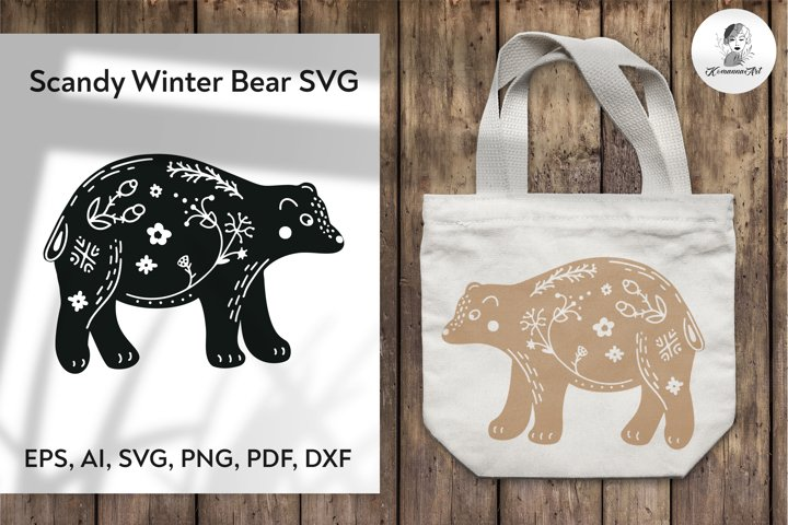 Scandy Winter Bear SVG Cut File, Christmas SVG!