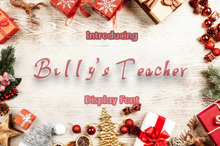 Billys Teacher| Cute Display Typeface Font
